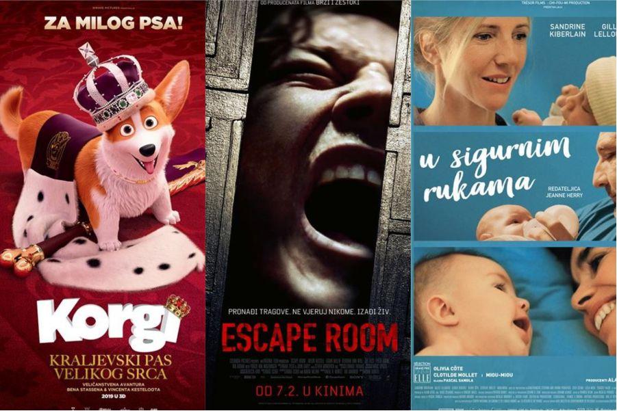 U kinu: Korgi: Kraljevski pas velikog srca (2D i 3D), Escape Room, U sigurnim rukama