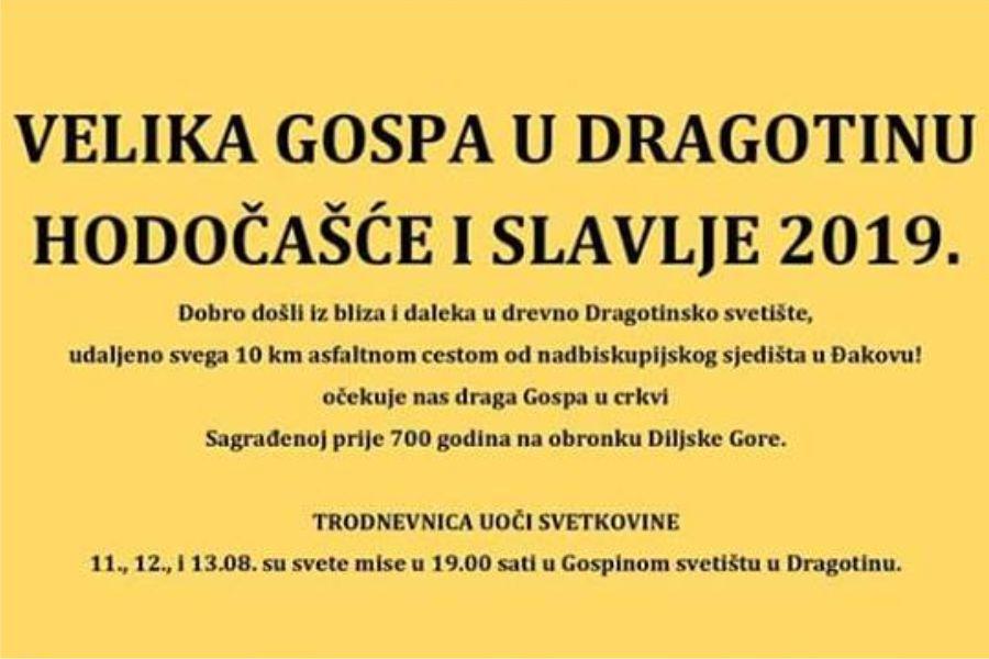Marijansko svetište u Dragotinu – obilježavanje blagdana Velike Gospe 2019.