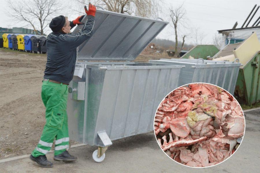 Otpad od svinjokolje u posebne posude