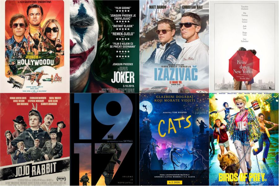 U kinu: Bilo jednom u Hollywoodu, Joker, Izazivač: Le Mans 66, Jojo Rabbit, Kišni dan u New Yorku, 1917, Cats i Birds of prey