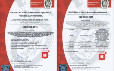 Univerzalu certifikat ISO 9001:2015