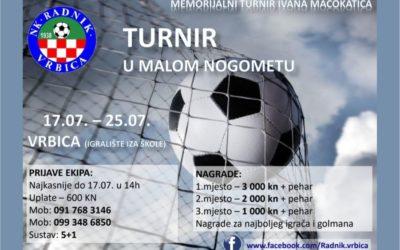 """Memorijalni malonogometni turnir """"Ivan Macokatić"""" u Vrbici"""